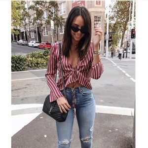 Satin tie striped shirt SOLD OUT ONLINE